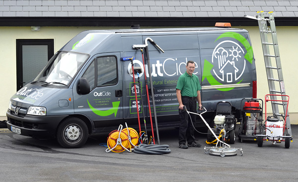 Seamus Staunton with OutCide's large range of exterior cleaning equipment.